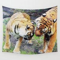 tigers Wall Tapestries featuring Tigers by Irene Jaramillo