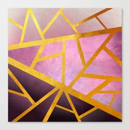 Textured Pink Geometric Gradient With Gold Canvas Print