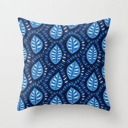 Beautiful Decorative Blue Leaves Pattern Throw Pillow