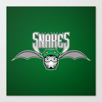 slytherin Canvas Prints featuring Snakes Slytherin by Fresco Umbiatore