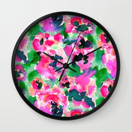 Abstract Flora Green Wall Clock