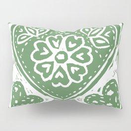 Cariad, darling sweetheart Welsh lino print green Pillow Sham