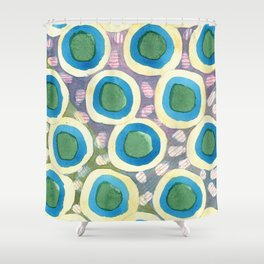 Four Directions beneath Circles Pattern Shower Curtain