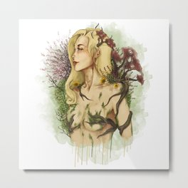 """Watercolor Painting of Picture """"Profile Woman"""" Metal Print"""