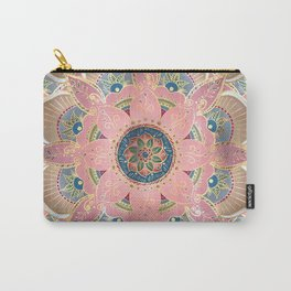 Trendy Metallic Gold and Pink Mandala Design Carry-All Pouch