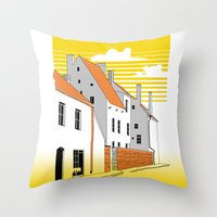medieval Throw Pillows featuring Medieval houses by LaDa
