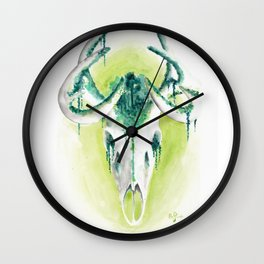 Deer skull forest - watercolor painting Wall Clock