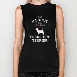 This Illinois Girl Loves Her Yorkshire Terrier Pet Dog Lovers Biker Tank
