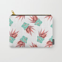 Aloe Vera Plant, Geometric, Coral, Mint, Rose Gold Carry-All Pouch