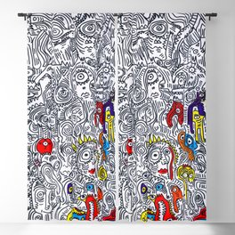 Pattern Doddle Hand Drawn  Black and White Colors Street Art Blackout Curtain