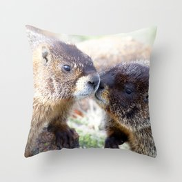 Watercolor Marmot 16, Forest Canyon Tundra, RMNP, Colorado, Brotherly Love Throw Pillow