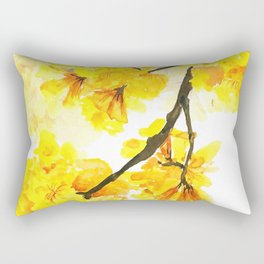 yellow trumpet trees watercolor yellow roble flowers yellow Tabebuia Rectangular Pillow
