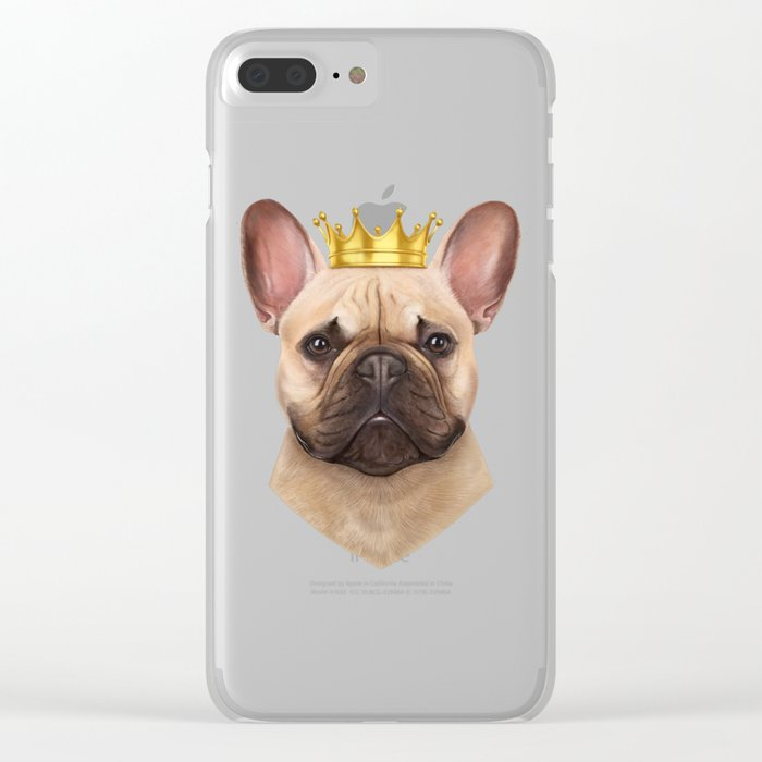 French bulldog with crown Clear iPhone Case