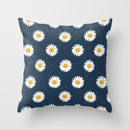 daisies - navy blue Throw Pillow
