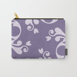 Royal Damask, Ornaments, Swirls - Purple White  Carry-All Pouch