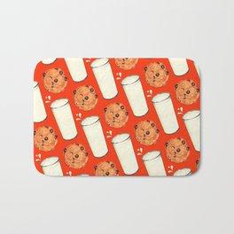 Milk & Cookies Pattern - Red Bath Mat