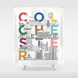 Colchester Town - Typoline Cities Shower Curtain