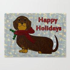 Happy Holidays Dachshund Canvas Print