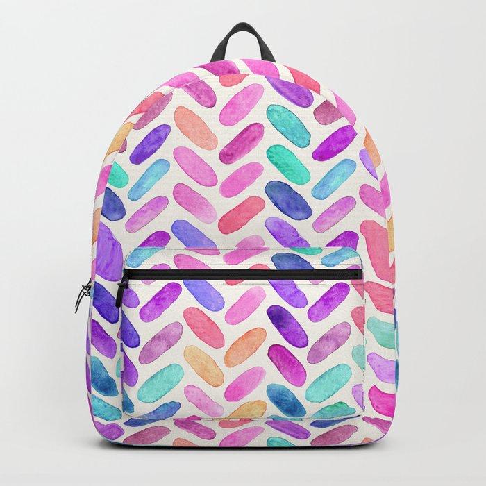 Rainbow Herringbone Watercolor Oblongs Backpack
