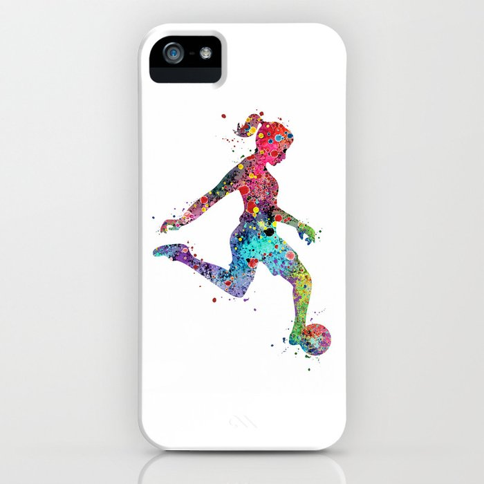 girl soccer player watercolor print sports print soccer player poster iphone case