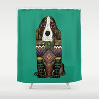 the hound Shower Curtains featuring Basset Hound jade by Sharon Turner