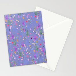 blue meadows colorful floral pattern Stationery Cards