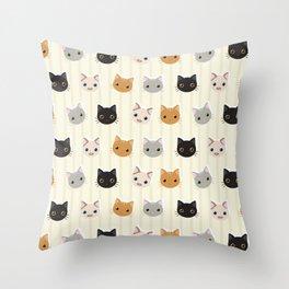 Cute Kitten & Stripes Pattern Throw Pillow