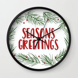 Seasons Greetings Wreath Wall Clock