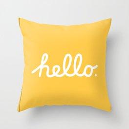 Hello: The Macintosh Office (Yellow) Throw Pillow