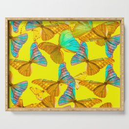 Butterflies - turquoise wings - yellow background #Society6 #buyart Serving Tray