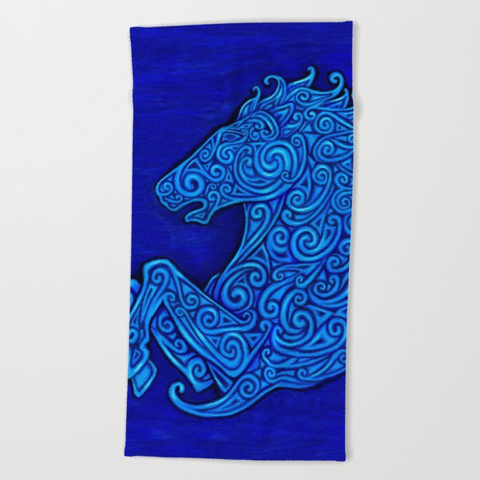 Blue Celtic Horse Abstract Spirals Beach Towel
