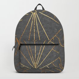 Art Deco in Gold & Grey - Large Scale Backpack
