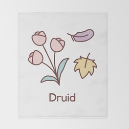 Cute Dungeons and Dragons Druid class Throw Blanket