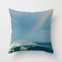 John John Florence over the rainbow Throw Pillow