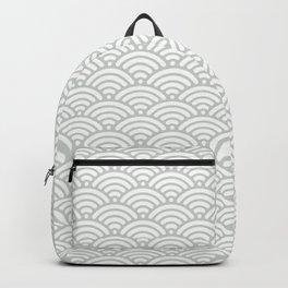 Gray Grey Seigaiha Wave Sea Salt Nautical Minimalist Backpack