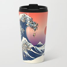 The Great Wave of Pug Travel Mug