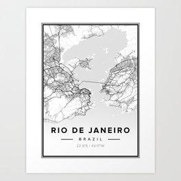 Rio de Janeiro Modern Map Art Print