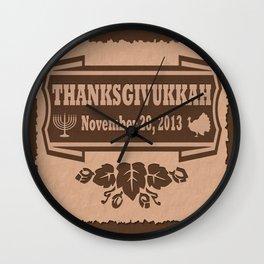 Hanukkah meets Thanksgiving - Thanksgivukkah Wall Clock