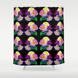 Rosa Yellow Roses on Black Pattern Shower Curtain