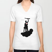 """evil dead V-neck T-shirts featuring Bruce Campbell Evil Dead """"Groovy"""" by Minerva Torres-Guzman"""