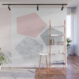 Blush, gray & marble geo Wall Mural