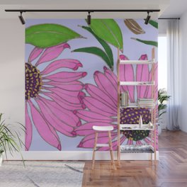 Echinacea on Lavender Wall Mural