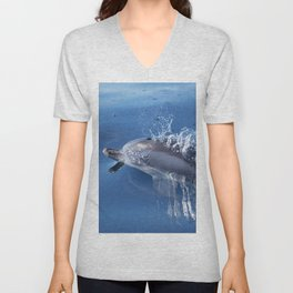 Dolphins and bubbles Unisex V-Neck