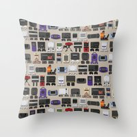 gamer Throw Pillows featuring Gamer by James Brunner