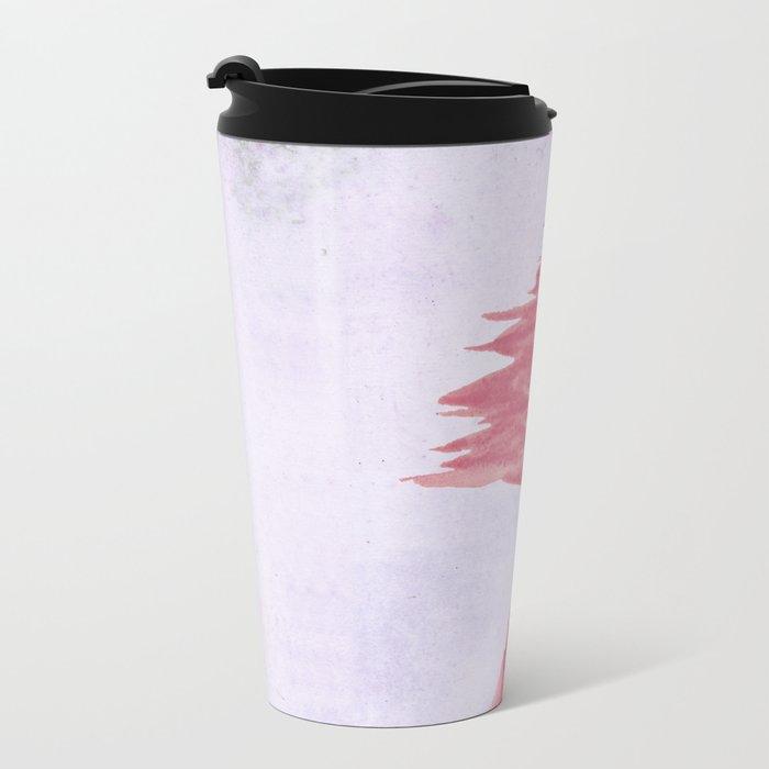 Red Tree watercolor on old paper Metal Travel Mug
