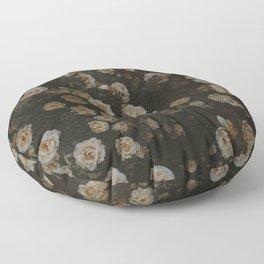 Midnight Dark Floral Grunge Floor Pillow