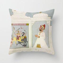 Thakur Ajit Singh Worships the Goddess Throw Pillow