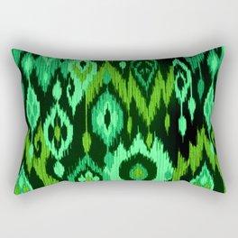 MODERN IKAT TRIBAL PATTERN | green Rectangular Pillow