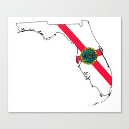 Florida Map with Floridian Flag Canvas Print