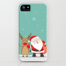 Noel and Deer Enjoying the Christmas iPhone Case